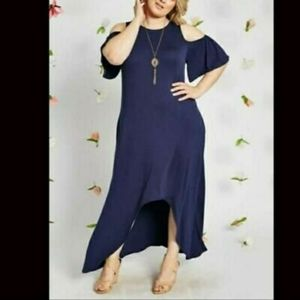 Women's Cold Shoulder Plus Size Maxi Dress